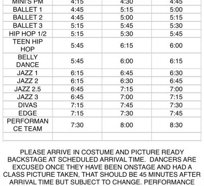 Stage rehearsal and Class Pictures Thursday, MAY 18th @CHS