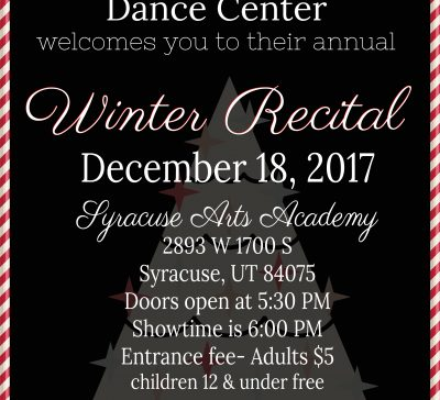 WINTER RECITAL December 18th 6:00PM